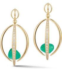 muzo emerald half cage earrings