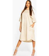 cotton roll sleeve oversized midi dress, stone