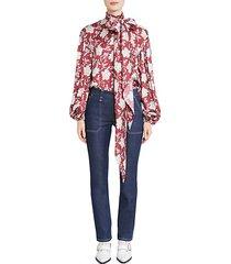 floral print tieneck silk blouse