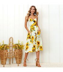 piña de girasol vestido de playa de las mujeres vestidos casuales-amarillo