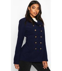 tall military button wool look coat, navy