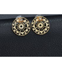 elegante orecchini a forma di orecchio rotondo con borchie a forma di fiocco dorato per le donne