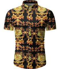 baroque pattern casual short sleeves shirt