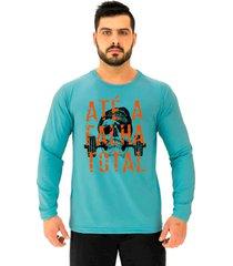 camiseta manga longa moletinho alto conceito atã© a falha total azul piscina - azul - masculino - algodã£o - dafiti