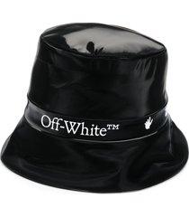 off-white logo bucket hat - black