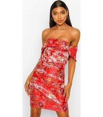 tall oriëntaalse jacquard mini jurk met open schouders, red