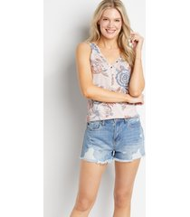 kancan™ womens classic non-stretch high rise medium ripped 3.5in shorts blue - maurices