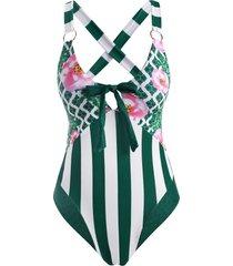 flower striped leopard bowknot o ring criss cross one-piece swimsuit