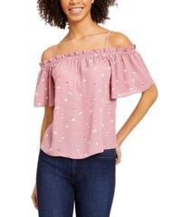 hippie rose juniors' printed off-the-shoulder top