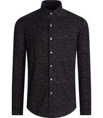 men's bugatchi ooohcotton tech chambray knit button-up shirt, size xxx-large - black