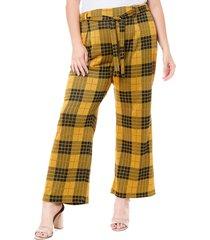 plus size women's single thread plaid tie waist pants, size 1x - yellow