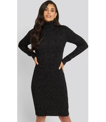 trendyol black metallic turtleneck dress - black