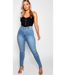 plus one ripped knee high rise jegging, light blue