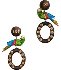 dolce & gabbana parrot detail drop earrings - brown