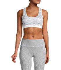 roberto cavalli sport women's snakeskin-print sports bra - white multi - size s