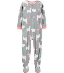carter's big girl 1-piece llama fleece footie pjs