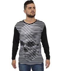 camiseta lucinoze manga longa striped preto