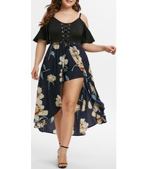 plus size flower lace up open shoulder dress romper