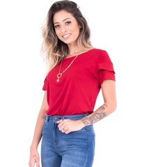 blusa up side wear babado vermelha