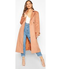 brushed wool look trench coat, camel