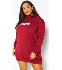 plus oversized 'icon' sweatshirt jurk met capuchon, wine