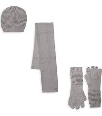 calvin klein women's waffle-knit hat, scarf & gloves 3-piece set - black