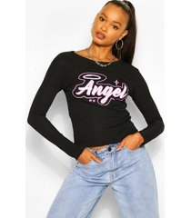angel print ribbed lettuce frill top, black