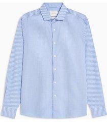 mens premium blue stripe slim shirt with supima cotton