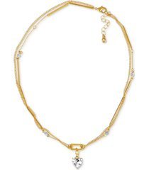 "rachel rachel roy gold-tone crystal heart double-row pendant necklace, 16"" + 3"" extender"