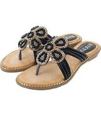 sandalias de cuentas de pétalos de diamantes de moda-negro
