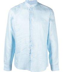 peninsula swimwear crinkled effect round neck shirt - blue