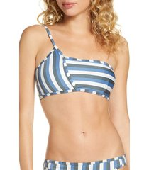 women's mei l'ange jazmin one-shoulder bikini top, size large - blue