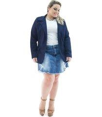blazer confidencial extra plus size jeans alongado com elastano feminino