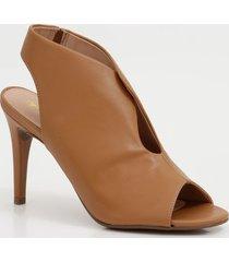 sandália feminina open boot salto alto fino via uno