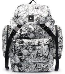 emporio armani tattoo-print multi-pocket backpack - white