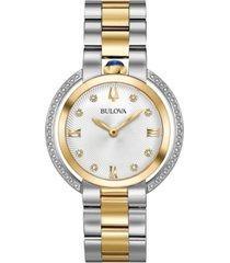 bulova women's rubaiyat diamond (1/4 ct. t.w.) two-tone stainless steel bracelet watch 35mm