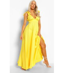 maxi jurk met laag decolleté en schouderstrikjes, yellow