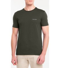 camiseta masculina slim minimalista flamê verde escuro calvin klein - gg