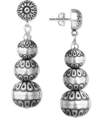 american west decorative bead drop earrings in sterling silver