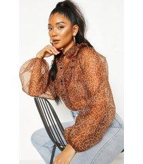 leopard print frill organza mesh shirt, brown