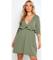 plus ruffle plunge smock dress, sage