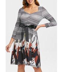 retro striped cat print flare dress