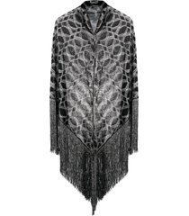 missoni geometric-pattern fringed shawl - black