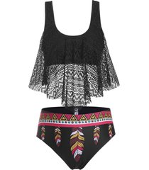plus size lace overlay feather print tankini swimwear