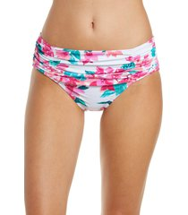 tommy bahama bougainvillea high waist swim bottoms, size x-small in white at nordstrom
