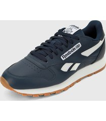 tenis lifestyle azul navy-blanco reebok cl leather mu
