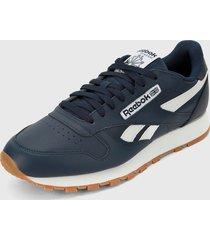 tenis lifestyle azul navy-blanco reebok cl leather mu