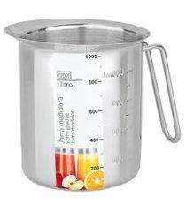 jarra medidora inox 1.000ml para receitas marcação interna e externa
