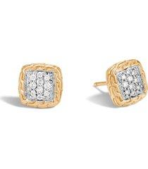 'classic chain' diamond 18k yellow gold stud earrings