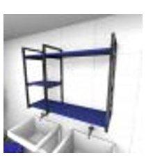 prateleira industrial para lavanderia aço preto mdf 30 cm azul escuro modelo ind16azlav